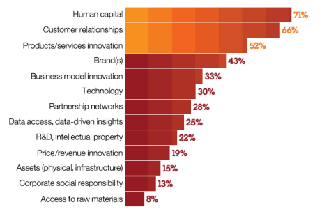 Prime sources: More than half of all CEOs see human capital, customer relationships and innovation as key sources of sustained economic value.