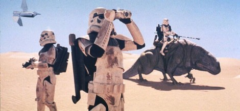 A Stormtrooper rides a Dewback