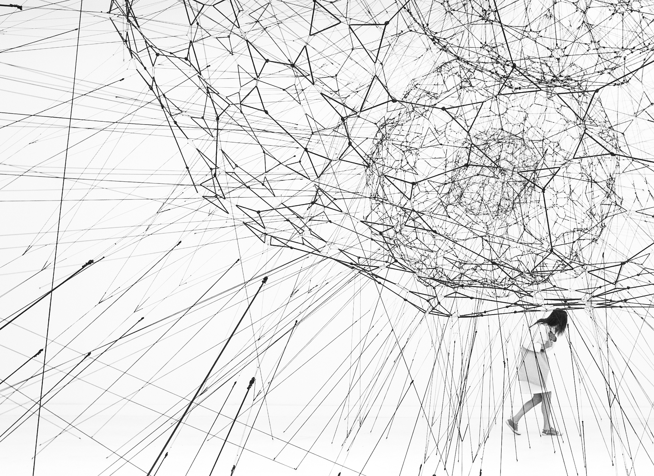 "Photography by Studio Tomás Saraceno, © 2016srerobinsonTomás Saraceno, New York/Cloud Cities, 2012; laser print on adhesive paper; © Tomás Saraceno; photo: courtesy the artist and Tanya Bonakdar Gallery, New York Tomás Saraceno, Galaxies Forming along Filaments, like Droplets along the Strands of a Spider's Web, 2009 (installation view, from 53rd Biennale di Venezia ""Fare Mondi""); courtesy the artist, Tanya Bonakdar Gallery, New York, Andersen's Contemporary, Copenhagen, Pinksummer contemporary art, Genoa, Esther Schipper, Berlin; photo: © Alessandro Coco Tomás Saraceno, Semi social musical instrument SXDF-NB1006-2: built by four Cyrtophora citricola -eight weeks, 2015 (detail), from the series Arachnid Orchestra. Jam Sessions; courtesy the artist, Tanya Bonakdar Gallery, New York, Andersen's Contemporary, Copenhagen, Pinksummer contemporary art, Genoa, Esther Schipper, Berlin; photo: © CCATomás Saraceno, Cloud Cities Thermodynamics of Self-Assembly/005, 2015; San Francisco Museum of Modern Art, Accessions Committee Fund purchase; © Tomás Saraceno; photo: courtesy the artist and Tanya Bonakdar Gallery, New York Tomás Saraceno, 14 billions (working title), 2010 (installation view, Bonniers Konsthall, Stockholm); commissioned by Bonniers Konsthall; courtesy the artist, Tanya Bonakdar Gallery, New York, Andersen's Contemporary, Copenhagen, Pinksummer contemporary art, Genoa, Esther Schipper, Berlin; ©Tomás Saraceno Photo: Fritjof Capra"